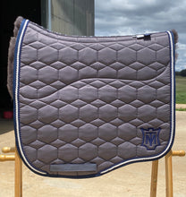 Mattes Large Eurofit Dressage Pad Grey Sheen with Navy