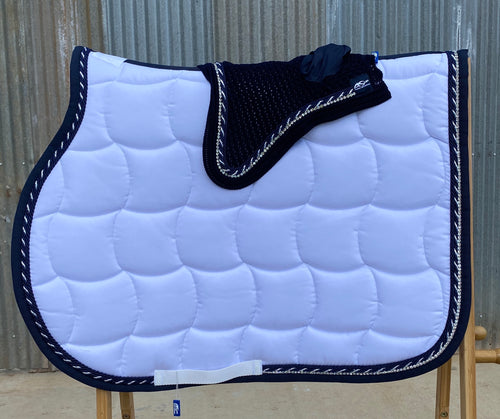Anna Scarpati custom Quadro Jump Pad and Bonnet Set Full White + Navy