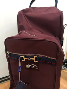 Anna Scarpati Onda Boot Bag Custom Burgundy with Navy IN stock