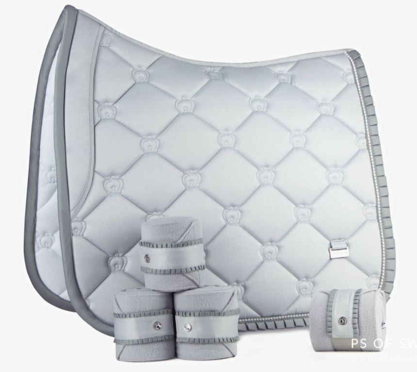 PS of Sweden Ruffle Set | Silver | Dressage Saddle Pad and Polo Bandages PREORDER