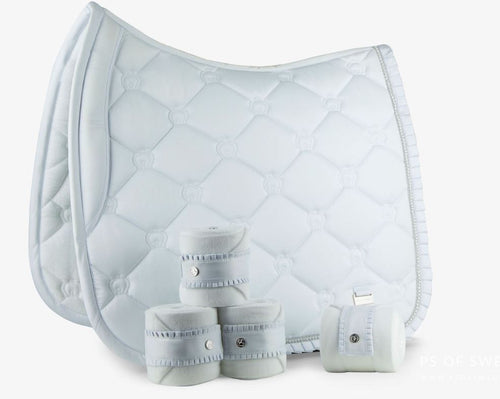 PS of Sweden Ruffle Collection | White Dressage Saddle Pad and Polo Bandage SET