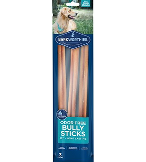 "Barkworthies Odor Free Bully Sticks 12"" 3 Pack"
