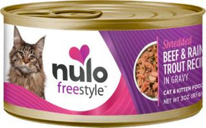 Nulo Cat Grain-Free Shredded Beef & Rainbow Trout in Gravy