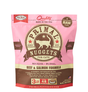 Primal Cat Raw Beef & Salmon Nuggets 3lbs.