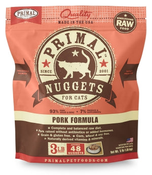 Primal Cat Raw Pork Nuggets 3lbs.