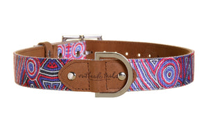 Outback Tails Dog Collar Digging For Truffles Blue & Red Small
