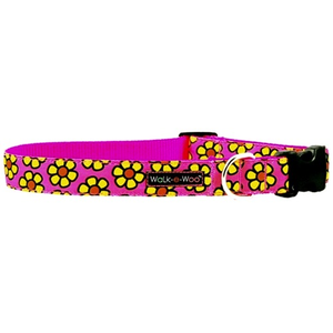 Walk-e-Woo Yellow Daisies on Pink Collar