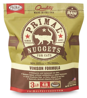 Primal Cat Raw Venison Nuggets 3lbs.
