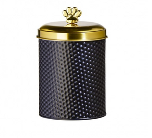 Global Amici Woofgang Black With Gold Paw Treat Jar