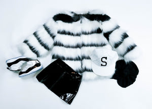 FAUX FUR BLACK AND WHITE COAT
