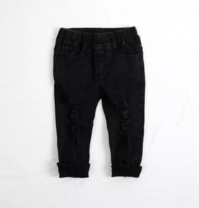 BLACK DISTRESSED DENIM