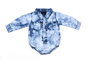 DENIM ACID WASH BODYSUIT