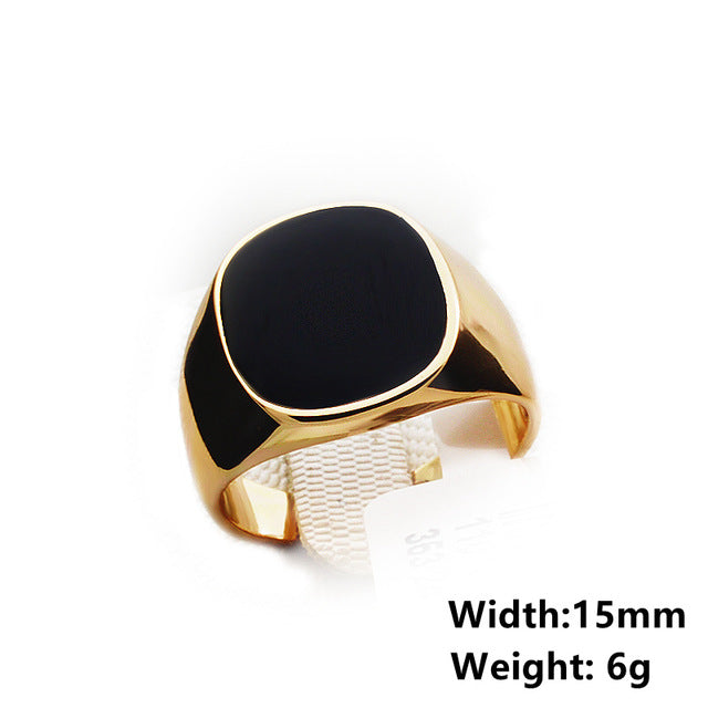 Real Brand Italina Rings for Men Hot Punk Gold-color Men's Fashion Wedding Ring Black New Arrival Vintage Jewelry For Male