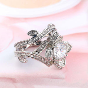 Women Engagement Ring Lotus Flower Silver Color Titanium Steel Wedding Jewelry