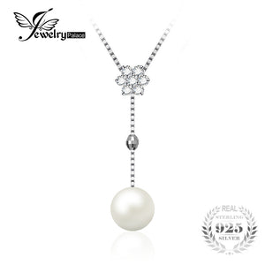 JewelryPalace Flower Round 8mm Freshwater Cultured Pearl Box Chain Choker Strand Beads Necklace 925 Sterling Silver 18 Inches