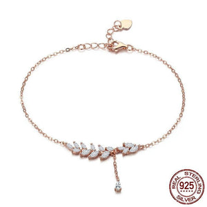 2018 New 925 Sterling Silver Rose Gold Tree Leaves Leaf Chain Link Women Lobster Clasp Bracelet Jewelry Adjustable SCB049