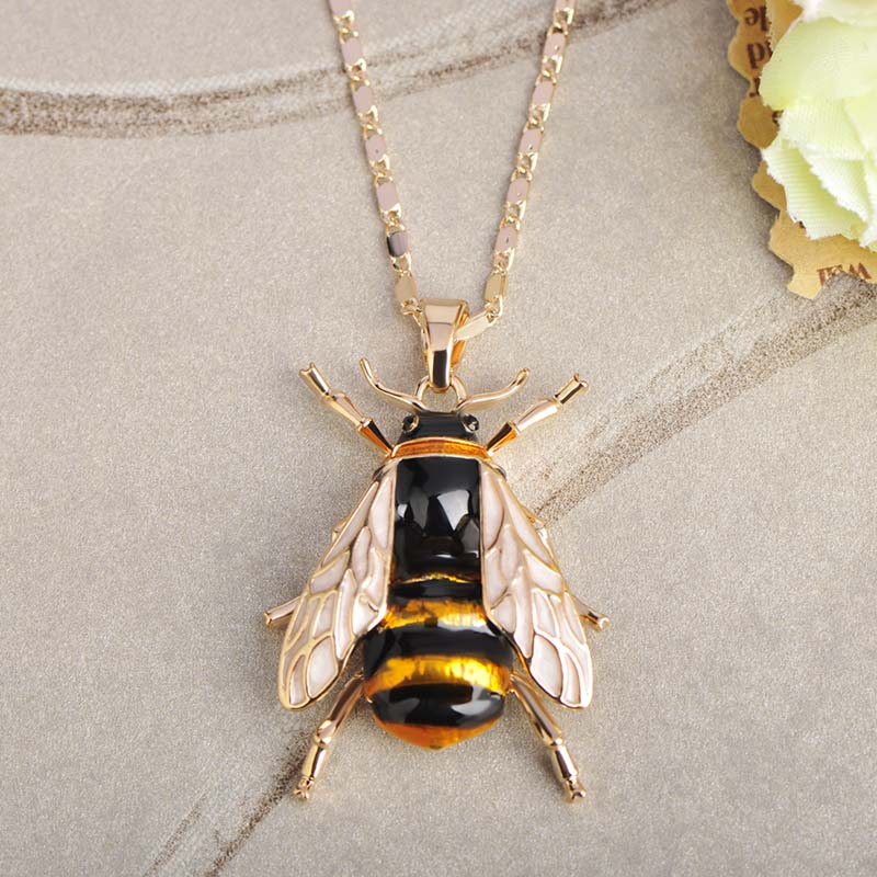 2018 Fashion Yellow Bee Shape Pendant Necklace Copper Chain Enamel Alloy Pendant Insects Jewelry For Women Girls Gifts