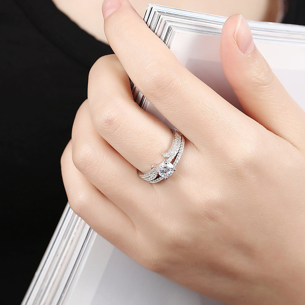 925 Sterling Silver Ring Curve with double ring jewelry (2pcs/set)