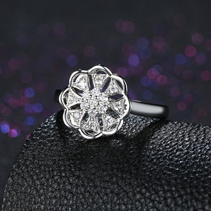 925 Sterling Silver Ring Anise flower-shaped inlaid ring jewelry