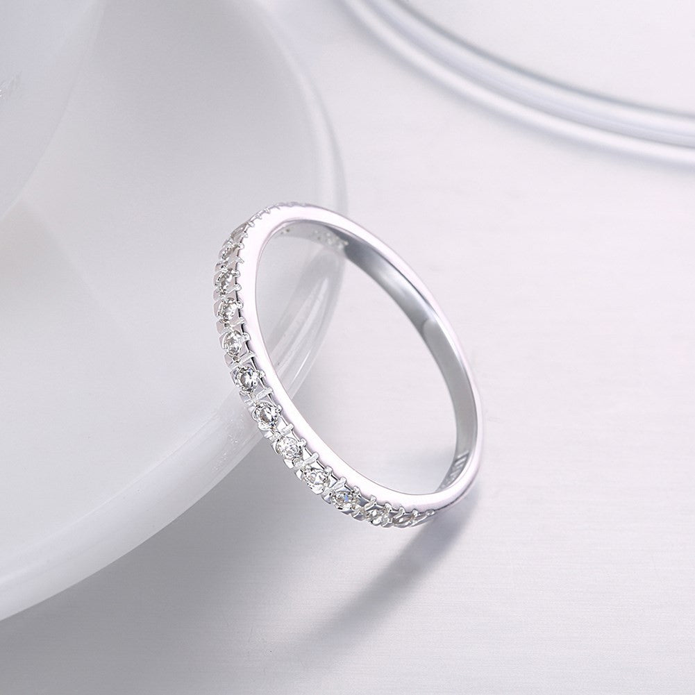 925 Sterling Silver Fashion minimalist flat ring boutique diamond jewelry romantic flat ring