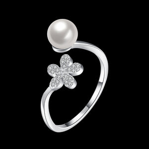 925 Sterling Silver Ring Pearl ring opening jewelry jewelry wholesale wholesalers website