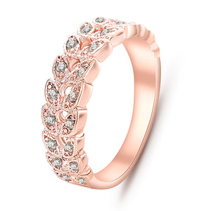 NJ92 Hot Sale Rose Gold Color Leaves Rings Rhinestones Crystal Rings For Women High Quality Fashion Wedding Jewelry Wholesale