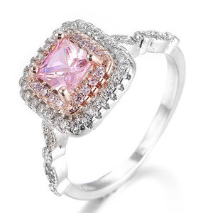 GR.NERH Silver Color Classic Pink Crystal Bijoux Fashion Cocktail Engagement Ring Cubic Zirconia Jewelry For Women As Love Gift