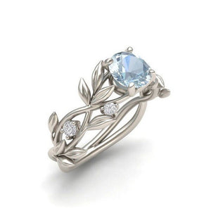 Hot Sale Women Ring Europe Tree Leaf Branches Blue Stone Zircon Crystal Princess Ring Jewelry Engagement Gift