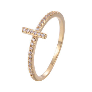 Cross Band Ring Copper Zirconia Ring 18K Gold/Platinum Plated