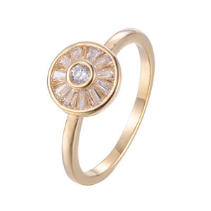 Concentric circles Copper Zirconia Ring 18K Gold /Platinum Plated