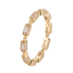 Modular Single Row Stackable Band Copper  Ring With Zirconia 18K Gold/Platinum Plated