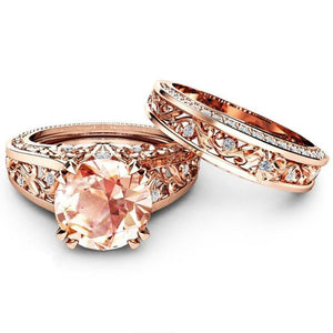 Elegant Zircon Ring Jewelry Plated Rose Gold Color Champagne Gem Engagement Wedding Ring Set for Women Size 6-10 anel feminino