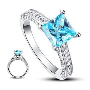 1.5 Carat Princess Fancy Blue Simulated Diamond 925 Sterling Silver Wedding Engagement Ring