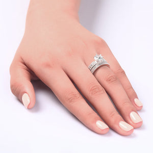 Vintage Style 1.25 Solitaire Simulated Diamond Sterling 925 Silver 2-Pc Bridal Wedding Engagement Ring Set