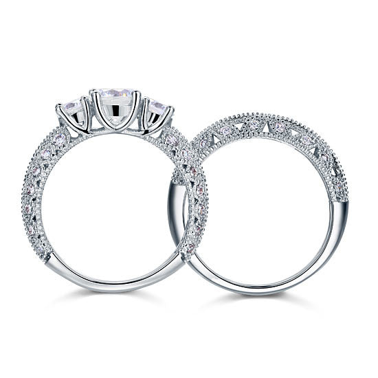 Vintage Style Victorian Art Deco 1.5 Carat Simulated Diamond Sterling 925 Silver 2-Pcs Wedding Engagement Ring Set