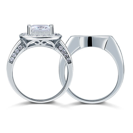Vintage Style 2 Carat Simulated Diamond  Sterling 925 Silver 2-Pc Bridal Wedding Engagement Ring Set