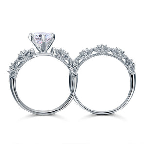 Vintage Style Victorian Art Deco 1.25 Carat Simulated Diamond Sterling 925 Silver 2-Pcs Wedding Engagement Ring Set