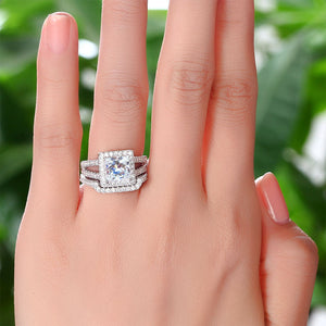 1.5 Carat Princess Simulated Diamond 925 Sterling Silver Wedding Promise Engagement Ring Set