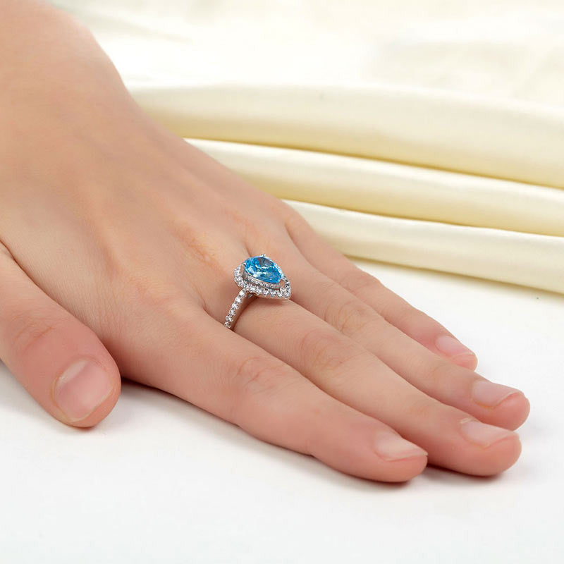 925 Sterling Silver Wedding Engagement Ring Pear Blue Simulated Diamond Jewelry