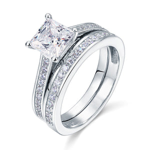 1.5 Carat Princess Simulated Diamond 925 Sterling Silver 2-Pcs Wedding Engagement Ring Set