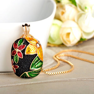 2018 Fashion Flower Shape Pendant Necklace Gold Color Alloy Enamel Jewelry Neck Accessories For Lady Bridal Bijoux Gifts