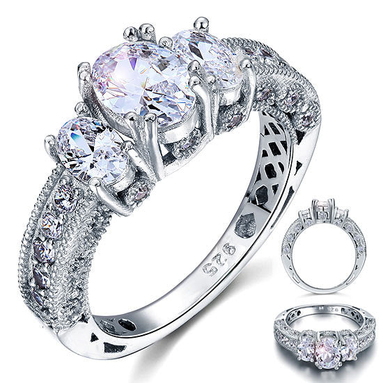 Vintage Style 2 Carat Simulated Diamond 925 Sterling Silver Wedding Engagement Ring