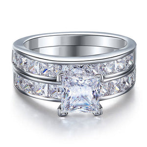 1 Ct Simulated Diamond 925 Sterling Silver Wedding Engagement Ring Set