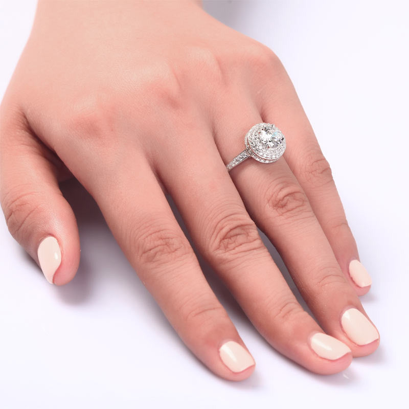 1 Carat Round Cut Simulated Diamond Wedding Engagement Sterling 925 Silver Ring