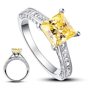 1.5 Carat Princess Yellow Canary Simulated Diamond 925 Sterling Silver Wedding Engagement Ring