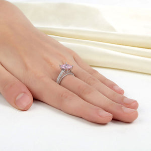 1.5 Carat Princess Fancy Pink Simulated Diamond 925 Sterling Silver Wedding Engagement Ring