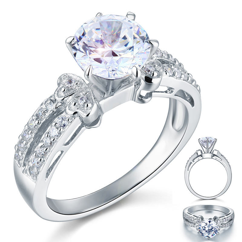 2 Carat Simulated Diamond 925 Sterling Silver Wedding Engagement Ring