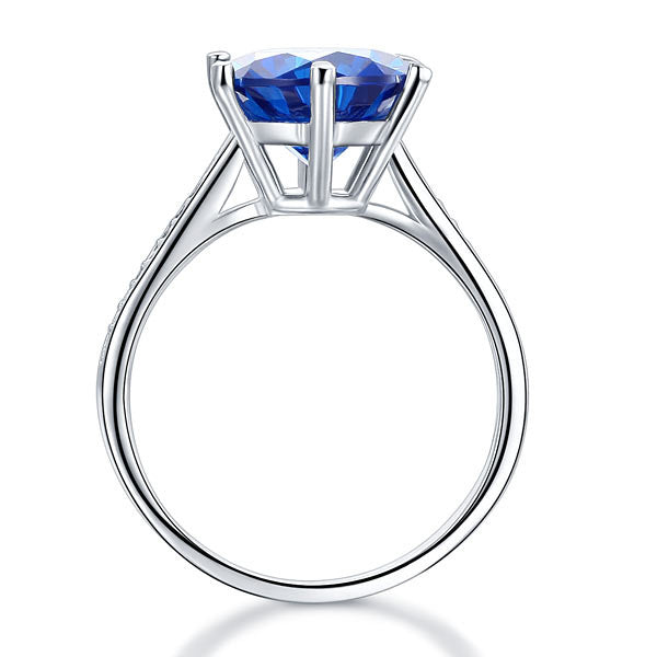 925 Sterling Silver Wedding Engagement Ring 3 Carat Blue Simulated Diamond Jewelry