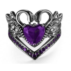 Heart Ruby/Amethyst Black Swan Ring Set Women Wedding Jewelry By Siam Panva