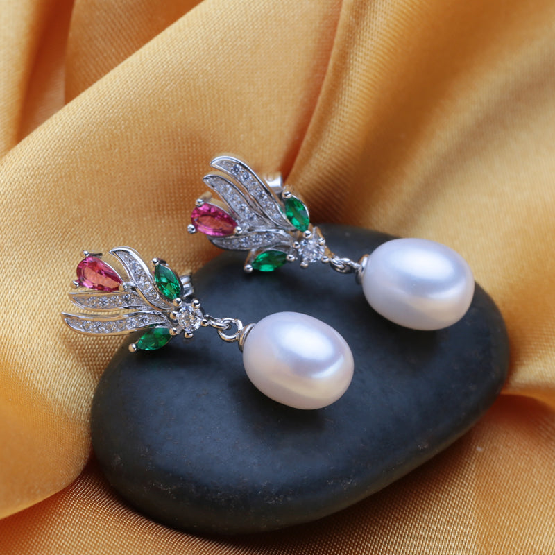 Pearl stud earrings,vintage flower earrings 2018 new black freshwater pearl earrings for women,fashion brand Aliexpress